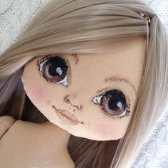 Doll Face Paint, Fabric Toys, Bear Doll, Doll Eyes, Doll Tutorial, Sewing Toys, Doll Head, Soft Dolls, Doll Crafts