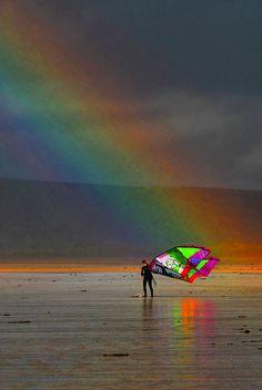 Rainbow in the rain. Westward Ho! Kite Championship. 2010