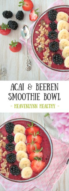 Acai und Beeren Smoothie Bowl Acai and Berry Smoothie Bowl – vegan, gluten-free, with no refined sugar Smoothie Bowl Vegan, Smoothies Vegan, Acai Smoothie, Breakfast Smoothies, Fruit Smoothies, Smoothie Recipes, Smoothie Detox, Clean Breakfast, Breakfast Options