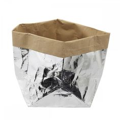 Basket with silver flaps, Corbeille Raffia paper - MERCI