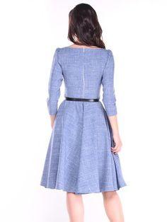 Light Lilac Solid Slash Neck 3/4 Sleeve Midi Dress with Belt