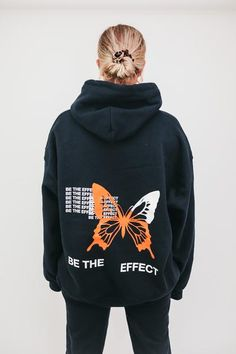 'Be The Effect' This is a Pre Order - Please allow up to 18 business days to process & ship Navy blue hoodie Cotton Hoodie Has 2 drawstrings Model is wearing XL ONLY available in XL for this drop Note this sweatshirt is meant to fit oversized Stylish Hoodies, Unique Hoodies, Cool Hoodies, Diy Hoodies, Moda Streetwear, Mode Ootd, Plain Hoodies, Hoodie Allen, Navy Blue Hoodie