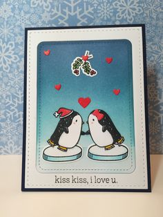 Mistletoe Kisses with Mama Elephant Arctic Penguins!