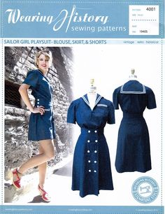Paper sewing pattern to make a 1940s sailor girl playsuit, including a blouse, high waisted skirt and high waisted shorts with button accent at the sides. Cond
