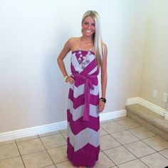 Modern Vintage Boutique {Love everything on this site!} Magenta and Gray Chevron Striped Tie Maxi Dress #