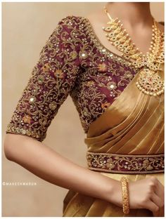 Wedding Saree Blouse Designs, Half Saree Designs, Silk Saree Blouse Designs, Fancy Blouse Designs, Wedding Sarees, Indian Blouse Designs, Traditional Blouse Designs, Wedding Blouses, Bengali Wedding