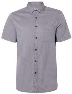 Grey Denim Short Sleeve Casual Shirt   TOPMAN saved by #ShoppingIS