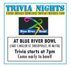 Trivia Nights at the Blue River Bowl in partnership with the Shelby County Public Library, Summer 2014