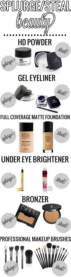 MakeUp Tips  :   Illustration   Description   Splurge / Steal Beauty. Great dupes! #beauty #makeup    -Read More –   - #MakeUp