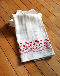 Set of Four Screen-printed Dish Towels with Red Poppies. $20.00, via Etsy.