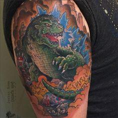 Classic Godzilla tattoo by Joshua Ross at Mind's Eye Tattoo in Emmaus, Pa.