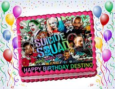 Suicide Squad Custom Photo Edible Cake Topper by BeanTownParties
