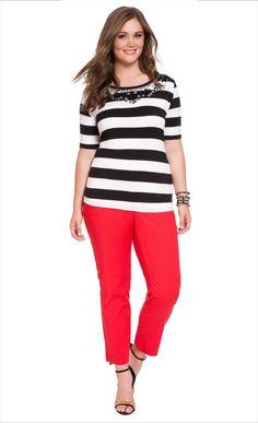 Embellished Stripe Tee   ELOQUII.com