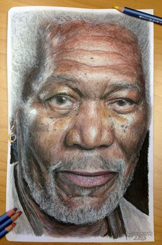 Morgan Freeman color pencil drawing I did a portrait of him without color : [link] Witch one do you like better guys ? Cool Pencil Drawings, Graphite Drawings, Realistic Drawings, Cartoon Drawings, Colored Pencil Portrait, Color Pencil Art, Morgan Freeman, Celebrity Drawings, Coloured Pencils