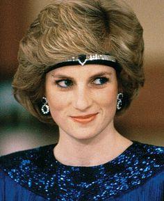 Diana, Princess of Wales, first wife of the Prince of Wales, wearing the Asprey Sapphire Choker Tiara, United Kingdom (1980's; sapphire, diamonds).