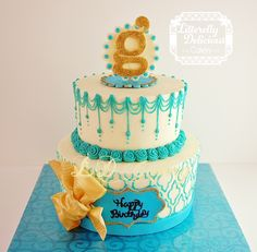 Teal and Gold - Birthday cake for my friend, Gracie. I used the Moroccan silicone onlay from Marvelous Molds to create an impression in my buttercream (I did not use it to transfer fondant to the buttercream because I ran out of material!!). But it worked beautifully with piped buttercream. The plaques and bow are modeling chocolate.