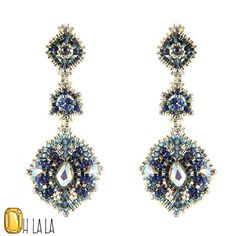 Earrings with Swarovski, Lapis and Sterling Silver, Beaded by Esther Marker