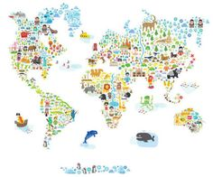 Image result for wall map decal nursery