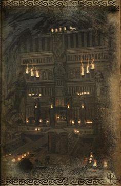 Warhammer: Barak Varr by Lanefenu on deviantART Fantasy Town, Fantasy Castle, High Fantasy, Fantasy World, Fantasy Dwarf, Fantasy Rpg, Medieval Fantasy, Landscape Concept, Fantasy Landscape