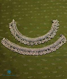 The Nritya Bridal Silver Anklets Payal Designs Silver, Silver Anklets Designs, Silver Payal, Anklet Designs, Gold Earrings Designs, Gold Jewellery Design, Gold Jewelry Simple, Silver Jewelry, Silver Ring