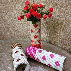 QUILLED VASE.... Rs.1100.. Free shipping... Dimensions - Diameter - 8cm Height - 26cm Colors and size can be customised...