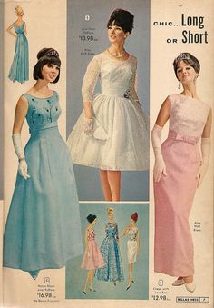National Bellas Hess catalog, spring-summer 1965 vintage fashion style long formal gown column dress sheath full skirt 60s blue pink white cocktail wedding lace satin pattern model print ad photo illustration