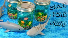 SHARK TANK JELLO 🐠🐟Your kids can have all kinds of fun with these fun treats.  Perfect for a pool party, shark theme or beach party.  With some easy directions you can make these inexpensive jello in a jar treats.
