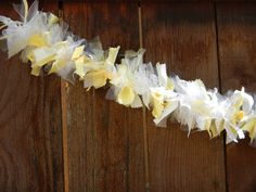 Yellow and White Garland Ribbon and Tulle by LolaRoseDesigns, $23 - pretty decor for a girl's party, shower, etc