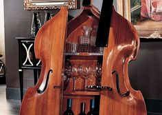 Small Portable Bars for Home | Cabinet Mini Bar Design with Violin Shaped Tips for Mini Bar Design