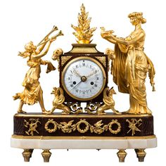 Louis XVI Mantel Clock by Lamiral, Dial by Coteau, Case Attributed to Thomire | From a unique collection of antique and modern clocks at https://www.1stdibs.com/furniture/decorative-objects/clocks/