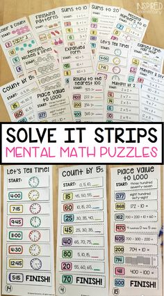 Solve It Strips are a fun, hands-on math center that requires no prep for the teacher! Students use their mental math skills to work through a variety of math standards and they can easily self-check their work on each activity strip. 16 different sets are currently included in this bundle!