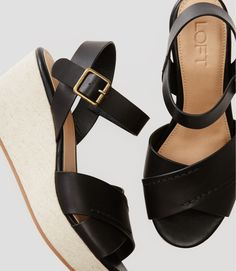 Crossover Ankle Strap Wedge Sandals | LOFT