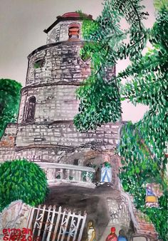 Bell Tower, Dumaguete City, Philippines - Painting by Erman Selibio at touchtalent