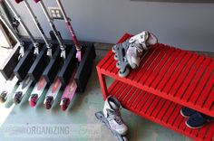 Good entryway storage for scooters. OR could be a good idea for how to organize a garage if there are scooter owners in your family Garage Storage Solutions, Storage Hacks, Garage Organization, Storage Ideas, Entryway Storage, Small Bathroom Storage, Scooter Storage, Scooter Scooter, Scooter Shop