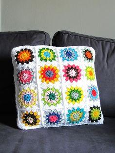 Granny Square Pillow  #crochet