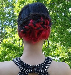 black and red braids