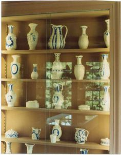 From the archives: Old photograph of Parian Ware on display in the Duran Room at Atwood House Museum, Chatham, MA. This shows a number of vases, pitchers, bottles and dishes. Note: The items in this photo are not currently on display in the Durand Room. The Parian Ware pieces in this photo are currently archived. Photo taken by Spencer Grey. #chatham, #durandroom, #atwoodhouse, #chathamhistoricalsociety, #capecod, #parianware