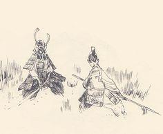 by guillaume singelin Samurai Drawing, Samurai Artwork, Character Design References, Character Art, Art Sketches, Art Drawings, Illustration Art, Illustrations, Arte Cyberpunk
