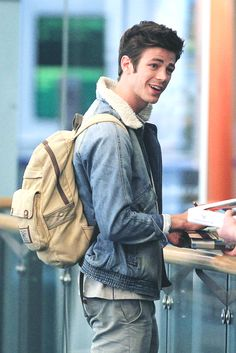 Grant Gustin arriving back in Vancouver, February 10, 2015