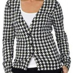 Houndstooth Sweater Cardigan **Tag sz XXL, but fits more like an XL** Black and ivory EUC lightweight sweater cardi. Button front. 92% cotton 6% nylon 2% spandex. Merona Sweaters Cardigans