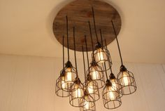Cage Light Chandelier - Cage Lighting - Industrial Lighting - Edison Bulb - Upcycled Wood on Etsy, $485.00