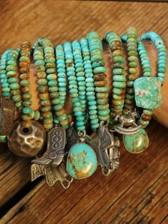 Pinner wrote: Turquoise bracelets with charms by Brit West My sort of bling :) Turquoise Jewelry, Boho Jewelry, Jewelry Crafts, Turquoise Bracelet, Beaded Jewelry, Handmade Jewelry, Jewelry Design, Beaded Bracelets, Fashion Jewelry