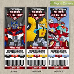 Personalized TRANSFORMERS Rescue Bots Birthday Ticket Invitation Card (Choose 3 designs at NO extra charge). $10.00, via Etsy.