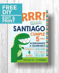 Dinosaur Party Invitation | Free DIY edit & Print Dinosaur Birthday Invitations, Free Printable Birthday Invitations, Dinosaur Birthday Party, Party Printables, Birthday Ideas, Party Decoration, Dinosaur Crafts, 1st Birthdays, Cakes