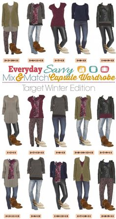 We have a new Winter mix and match outfits board for you! This one has some fashion trends at great prices. I love to try to out trends at lower end price points  like Target. We include some great trends this season including jogger pants, faux leather leggings, coated jeans and a moto jacket!