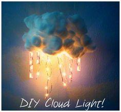 DIY Cloud Light using recycled Christmas lights