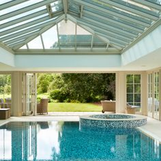 This stunning glazed pool house, set in beautiful surroundings, makes swimming possible no matter the weather. Small Indoor Pool, Indoor Swimming Pools, Swimming Pool Designs, Pool Ideas, Yard Ideas, Westbury Gardens, Cameron Park, Park House, Pool Houses