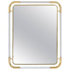 Large Lucite and Brass Mirror in the Style of Romeo Rega | From a unique collection of antique and modern wall mirrors at https://www.1stdibs.com/furniture/mirrors/wall-mirrors/