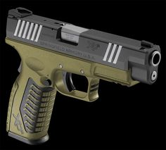 cerakoted with armor black, a custom burnt bronze/od green mix, and titanium. Springfield armory XDm s&w Rifles, Airsoft Guns, Glock Guns, Camouflage, Survival, Springfield Armory, Assault Weapon, Fire Powers, Home Defense