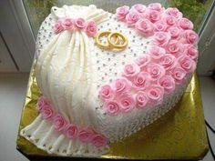 Chocolate sponge cake and rose cake decoration - dessertcitys .com - Page 16 of 48 Elegant Wedding Cakes, Beautiful Wedding Cakes, Wedding Cake Designs, Beautiful Cakes, Cake Roses, Rose Cake, Heart Shaped Cakes, Heart Cakes, Pretty Cakes